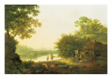 Applepickers, by a Cottage in a Wooded Landscape with Chichester Beyond Giclee Print by George Smith
