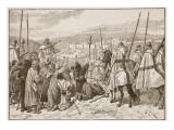Pilgrims under Escort of Knights Templars, in Sight of Jerusalem Gicléetryck av Edouard Zier