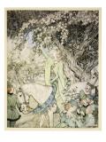 How Queen Guenever Rode A-Maying into the Woods and Fields Beside Westminster Giclee-trykk av Arthur Rackham
