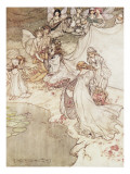 Illustration for a Fairy Tale, Fairy Queen Covering a Child with Blossom Impressão giclée por Arthur Rackham