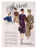 Advertisement for Women's Blouses and Suits at Harrods, 1945 Giclée-tryk af  English School