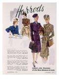 Advertisement for Women's Blouses and Suits at Harrods, 1945 Gicléedruk van  English School