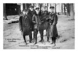 Baron Von Richthofen with Fellow Pilots, Including His Brother Lothar Reproduction procédé giclée par  German photographer