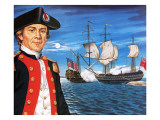 John Paul Jones, with His Ship Flying the Flag of the Rebellious Colonists of North America Giclee Print by John Keay