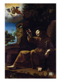 St. Francis of Assisi Consoled by an Angel Musician Giclée-tryk af  Italian School