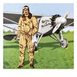 Charles Lindbergh and the Plane in Whch He Flew across the Atlantic, Solo. Giclee Print by John Keay