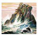 Peter Pan and Wendy Darling on a Rock, Illustration from 'Peter Pan' by J.M. Barrie Giclee-trykk av Nadir Quinto