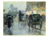 Horse Drawn Cabs at Evening, New York, C.1890 Giclee Print by Childe Hassam