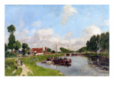 Barges on the Canal at Saint-Valery-Sur-Somme, 1891 Giclee Print by Eugène Boudin