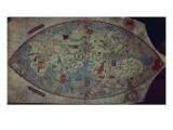 Genoese World Map, Designed by Toscanelli Giclée-tryk af  Italian School