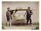 Japanese Geisha Being Carried in a Litter Giclee Print by Kusakabe Kimbei