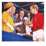 Bobby Moore Collecting the Football World Cup Trophy in 1966 Giclee Print by John Keay