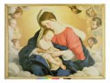The Madonna and Child in Glory with Cherubs Giclee Print by  Giovanni Battista Salvi da Sassoferrato