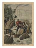 A Man in a Barrel Crossing the Niagara Falls Reproduction procédé giclée par  French School