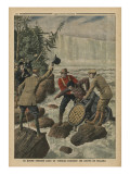 A Man in a Barrel Crossing the Niagara Falls Giclee Print by  French School