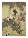 Eight Red-Crested Herons in a Pine Tree, 1754 Gicléedruk van Hua Yan