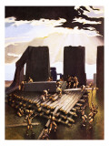 The Building of Stonehenge, an Imagined in 1978 Giclee Print by Arthur Ranson