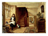 An Interior with a Girl Playing with Cats Giclee Print by Robert Collinson