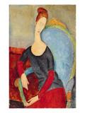 Mme Hebuterne in a Blue Chair, 1918 Giclée-tryk af Amedeo Modigliani