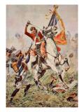 Sergeant Ewart Capturing the Eagle at Waterloo Reproduction procédé giclée par William Barnes Wollen