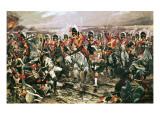 Charge of the Scots Greys at Waterloo Lámina giclée por Richard Caton Woodville