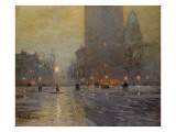 Madison Square, Rainy Night Giclée-tryk af Lowell Birge Harrison