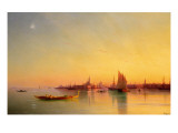 Venice from the Lagoon at Sunset Giclée-tryk af Ivan Konstantinovich Aivazovsky