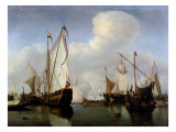 A Calm: a Dutch States Yacht Firing a Salute Giclée-Druck von Willem Van De, The Younger Velde