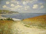 Sti gennem hvedemark ved Pourville, 1882  Giclée-tryk af Claude Monet