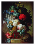Still Life, Flowers and Bird's Nest Giclée-tryk af Jan van Os