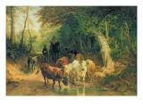 Cattle Watering in a Wooded Landscape Giclée-Druck von Friedrich Voltz