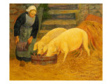 A Young Girl Feeding Two Pigs, 1889 Giclée-tryk af  Serusier