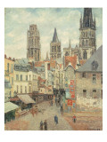 Rue De L'Epicerie at Rouen, on a Grey Morning, 1898 Reproduction procédé giclée par Camille Pissarro