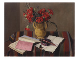 Carnations and Account Books, 1925 Giclee Print by Félix Vallotton