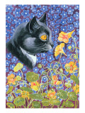 A Cat in a Sea of Flowers Reproduction procédé giclée par Louis Wain