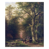 Wooded Landscape with Peasants Giclee-trykk av Barend Cornelis Koekkoek