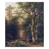 Wooded Landscape with Peasants Giclee Print by Barend Cornelis Koekkoek