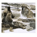 Eskimo Attacking Walrus Lámina giclée por  English School