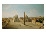 A View of the Piazza Del Popolo Giclée-tryk af Antonio Joli