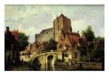 A Dutch Town with a Church Giclee Print by Willem Koekkoek