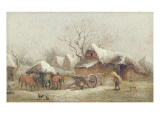 A Winter Farmyard Scene Giclee Print by Thomas Smythe