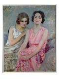 Two Young Women Seated Impressão giclée por William Henry Margetson