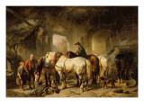 Horses Feeding in the Stable Giclée-Druck von Wouterus Verschuur