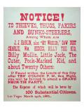 Vigilante Notice of 1882 Giclee Print by  American School