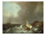 Galleon in Stormy Seas Giclee Print by Jan Claes Rietschoof