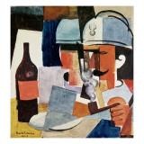 Soldier with Pipe and Bottle Giclee-trykk av Roger de La Fresnaye