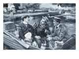 Three Men in a Boat Giclee Print by Paul Rainer