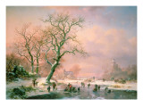Skaters on a Frozen River Giclee Print by Frederik Marianus Kruseman