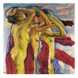 Oeuvres classique, Trois nus Reproduction procédé giclée par Koloman Moser