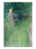 In the Holly Hedge Giclée-tryk af Carl Larsson